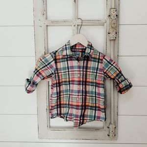 Boys baby gap plaid button down shirt 5T